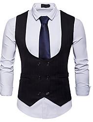 저렴한 -남성용 일상 사업 가을 보통 조끼, 솔리드 셔츠 카라 긴 소매 폴리에스테르 화이트 / 블랙 / 카키 L / XL / XXL