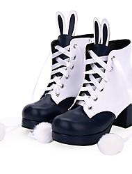 Недорогие -Sweet Lolita Прицесса На толстом каблуке Туфли Бант 6 cm См Черный / Коричневый / Чернильный синий Назначение Жен. Искусственная кожа / Полиуретановая кожа Костюмы на Хэллоуин