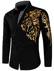 Недорогие -Муж. Рубашка Тонкие Уличный стиль Графика / Длинный рукав