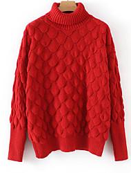 Недорогие -Жен. Повседневные Однотонный Длинный рукав Обычный Пуловер Белый / Красный / Желтый Один размер