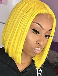 cheap -Synthetic Lace Front Wig Straight Golden Bob / Middle Part Yellow Synthetic Hair 10-14 inch Women's Heat Resistant / Women / Middle Part Golden Wig Short Lace Front / Glueless