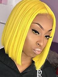 Χαμηλού Κόστους -Συνθετικές μπροστινές περούκες δαντέλας Ίσιο Χρυσό Κούρεμα καρέ / Μέσο μέρος Κίτρινο Συνθετικά μαλλιά 10-14 inch Γυναικεία Ανθεκτικό στη Ζέστη / Γυναικεία / Στη μέση Χρυσό Περούκα Κοντό / Χωρίς κόλλα