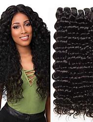 Χαμηλού Κόστους -3 δεσμίδες Μαλαισιανή / Ινδική Deep Curly Χωρίς επεξεργασία / Φυσικά μαλλιά Δώρα / Υφάνσεις ανθρώπινα μαλλιών / Προέκταση 8-28 inch Φυσικό Χρώμα Υφάνσεις ανθρώπινα μαλλιών Μηχανοποίητο
