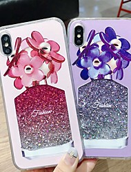 Недорогие -Кейс для Назначение Apple iPhone XS / iPhone XR / iPhone XS Max Защита от удара / Движущаяся жидкость / Прозрачный Кейс на заднюю панель Геометрический рисунок / Сияние и блеск / Цветы Твердый ПК