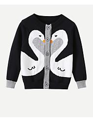 tanie -Dzieci Dla dziewczynek Moda miejska Nadruk Długi rękaw Regularny Poliester Sweter i kardigan Czarny