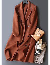 저렴한 -여성용 긴 모직 코트 - 단색