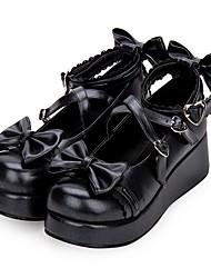 baratos -Doce Princesa Salto Plataforma Sapatos 5 cm CM Tinta Azul / Rosa / Vermelho Para Couro PU / Couro de Poliuretano Trajes da Noite das Bruxas
