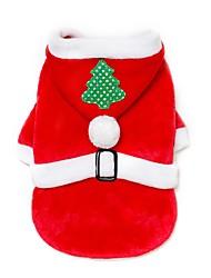 baratos -Cachorros / Gatos Natal Roupas para Cães Personagem / Natal Vermelho Tecido / Flanela Ocasiões Especiais Para animais de estimação Masculino / Feminino Casual / Mantenha Quente / Natal