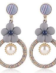 economico -Per donna Classico Orecchini a goccia - Perle finte Fiore decorativo Alla moda Gioielli Rosso scuro / Azzurro chiaro Per Festival 1 paio