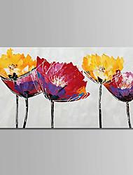 Недорогие -Hang-роспись маслом Ручная роспись - Цветочные мотивы / ботанический Modern Включите внутренний каркас / Растянутый холст
