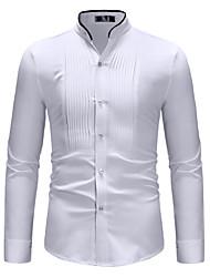 Недорогие -Муж. Рубашка Хлопок, Воротник-стойка Классический Контрастных цветов Белый / Длинный рукав