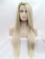 Недорогие -Синтетические кружевные передние парики Жен. Естественные прямые Золотистый Стрижка каскад 130% Человека Плотность волос Искусственные волосы 26 дюймовый Женский Золотистый Парик Средняя длина / Да