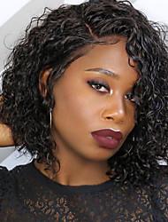 Недорогие -Натуральные волосы Лента спереди Парик Бразильские волосы Кудрявый Черный Парик Стрижка боб Короткий Боб 130% Плотность волос с детскими волосами Природные волосы Для темнокожих женщин 100