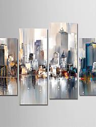 Недорогие -ручная роспись холст масляной живописи абстрактный городской пейзаж набор из 4 для украшения дома с рамой готовы повесить