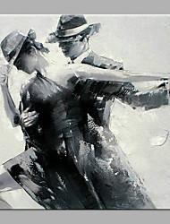 Недорогие -Hang-роспись маслом Ручная роспись - Абстракция Люди Классика Modern Без внутренней части рамки / Рулонный холст