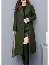Недорогие -длинное пальто с длинными пальто женщин - сплошной цвет