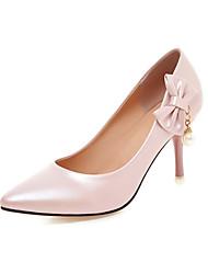 Недорогие -женская полиуретановая пружина ador®&  каблук-шпилька с заостренным носком бантик / имитация жемчуга синий / розовый / миндаль / свадьба / вечеринка& вечер
