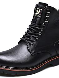 billige -Herre Fashion Boots Læder Efterår vinter Vintage / Britisk Støvler Hold Varm Støvletter Sort / Brun