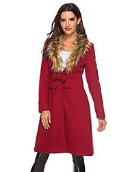 رخيصةأون -نسائي نبيذ M L XL معطف أناقة الشارع لون سادة