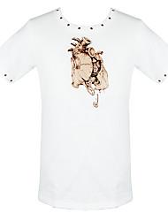 baratos -Fantasias Steampunk Ocasiões Especiais Mulheres Blusa / Camisa Rebite Branco Vintage Cosplay Algodão Manga Curta Camiseta