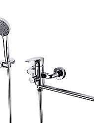 Недорогие -смеситель для душа / смеситель для ванны - современный хромированный настенный кран из латуни