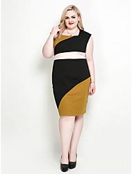 hesapli -Kadın's Büyük Bedenler Tatil Sokak Şıklığı sofistike Bandaj Kombinezon Kılıf Elbise - Zıt Renkli Kare Yaka Diz-boyu