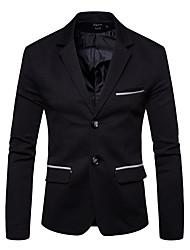 저렴한 -남성용 작동 스트리트 쉬크 가을 겨울 보통 블레이져, 솔리드 셔츠 카라 긴 소매 면 / 폴리에스테르 블랙 L / XL / XXL