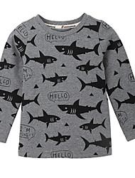 お買い得  -幼児 男の子 活発的 日常 ソリッド / 幾何学模様 長袖 レギュラー ポリエステル Tシャツ グレー