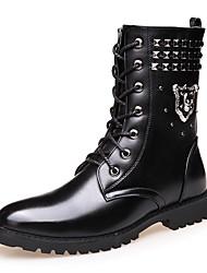 baratos -Homens Sapatos Confortáveis Couro Ecológico Inverno Oxfords Botas Cano Médio Preto