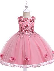 お買い得  -子供 女の子 活発的 / 甘い パーティー / 祝日 ソリッド ノースリーブ 膝丈 ドレス ピンク