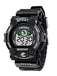 Недорогие -Муж. Спортивные часы Цифровой Pезина Черный Защита от влаги Календарь Секундомер Цифровой На каждый день Мода - Зеленый Синий Светло-синий / Фосфоресцирующий