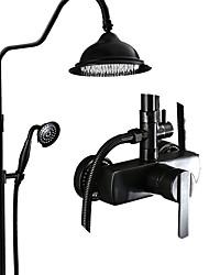 Недорогие -Смеситель для душа - Античный Начищенная бронза По центру Керамический клапан Bath Shower Mixer Taps / Латунь / Одной ручкой три отверстия