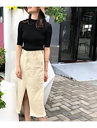 Недорогие -женщины выходят из хлопка асимметричные юбки - сплошной цвет