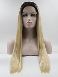 Недорогие -Синтетические кружевные передние парики Жен. Прямой Омбре Свободная часть 180% Человека Плотность волос Искусственные волосы 18-26 дюймовый Регулируется / Жаропрочная / Эластичный Омбре Парик Длинные