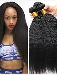 tanie -6 pakietów Włosy peruwiańskie Kinky Straight Włosy naturalne Nieprzetworzone włosy naturalne Nakrycie głowy Fale w naturalnym kolorze Pielęgnacja włosów 8-28 in Kolor naturalny Ludzkie włosy wyplata