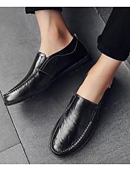 hesapli -Erkek Ayakkabı Mikrofiber İlkbahar & Kış Mokasen & Bağcıksız Ayakkabılar Günlük için Siyah / Açık Kahverengi / Koyu Kahverengi