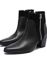 Недорогие -Муж. Обувь для новинок Наппа Leather Наступила зима На каждый день / Английский Ботинки Нескользкий Ботинки Черный / Свадьба / Для вечеринки / ужина