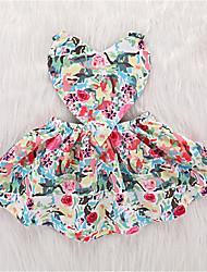 お買い得  -幼児 女の子 活発的 日常 幾何学模様 ノースリーブ 膝丈 ポリエステル ドレス ピンク