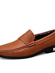 baratos -Homens Sapatos Confortáveis Pele Napa Outono & inverno Clássico / Casual Tênis Manter Quente Castanho Escuro / Khaki / Festas & Noite