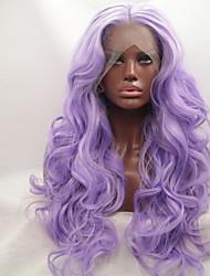 Недорогие -Синтетические кружевные передние парики Жен. Волнистый / Естественные кудри Фиолетовый Стрижка каскад 130% Человека Плотность волос Искусственные волосы 24 дюймовый Женский Фиолетовый Парик Длинные