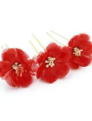 billige -Tyl Hair Pin med Blomster 3 Dele Bryllup / Fest / aften Medaljon