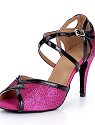 baratos -Mulheres Sapatos de Dança Latina Sintéticos Sandália / Salto Purpurina Salto Alto Magro Sapatos de Dança Fúcsia