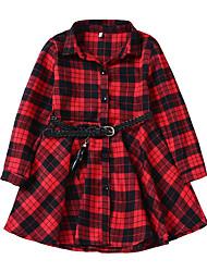 お買い得  -子供 女の子 ヴィンテージ チェック 長袖 ドレス ブラック