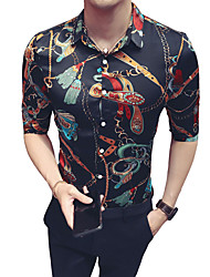 Недорогие -Муж. Рубашка Классический воротник Тонкие Контрастных цветов Черный / Лето