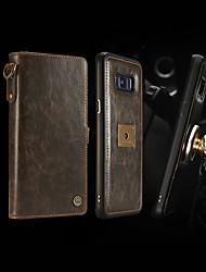 Недорогие -CaseMe Кейс для Назначение SSamsung Galaxy S8 Plus Кошелек / Бумажник для карт / Защита от удара Чехол Однотонный Твердый Кожа PU для S8 Plus