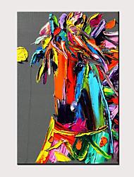 voordelige -Hang-geschilderd olieverfschilderij Handgeschilderde - Abstract Pop Art Modern Zonder Inner Frame