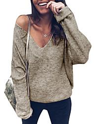 Недорогие -женская свободная футболка - сплошная цветная шея