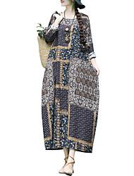 Недорогие -женское повседневное свободное платье до колен белье / хлопок красный зеленый темно-синий м х х х х л