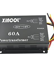 Недорогие -xincol® автомобиль автомобиль DC 24В 12В 60а питания трансформатора преобразователя с двумя вентиляторами регулирование-черный
