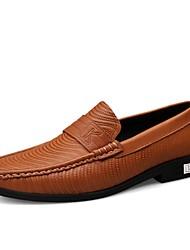 baratos -Homens Sapatos Confortáveis Pele Napa Outono & inverno Clássico / Vintage Tênis Absorção de choque Castanho Escuro / Khaki / Festas & Noite